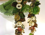 "Bead Crochet Necklace ""Summer Dream"" Green  Jewelry   Lariat   Beadwork  Polymer clay  pearls Swarovski Super gift  Made to order"