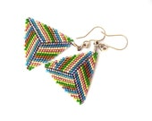 "Geometric Triangle earrings ""Summer geometry""  Multicolored  Minimalist  Gift under 20   rusteam   TT team"