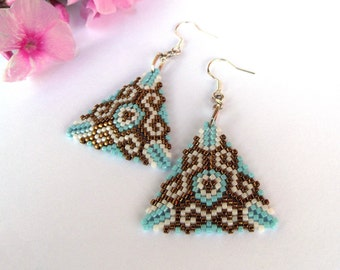 """Geometric Triangle earrings """"Ornament""""  with 925 SterWling Silver French Hooks  Blue Bronze Minimalist"""