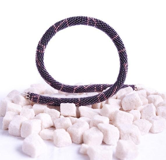 Night Sky -  Classic Bead Crochet Necklace OFFICE Necklace Dark Purple Metallic Beadwork Jewelry Modern Minimalist Geometric