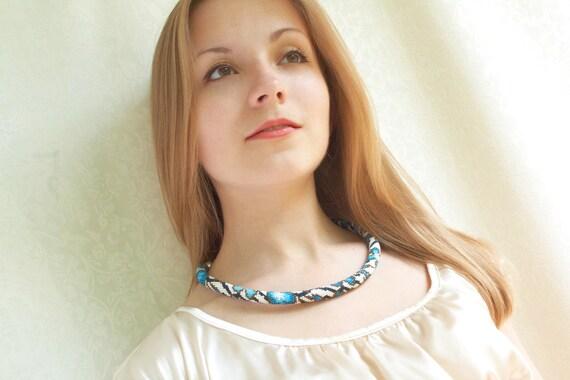 Cornflower - Bead Crochet Necklace Beaded Necklace Blue White Jewelry  Flower Garden Pastel Beadwork Modern Made to order