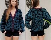 Vintage Teal Cardigan Sweater, Purple, Black, and Teal Sweater, Leaf Print Boho Cardigan, Grandpa Sweater