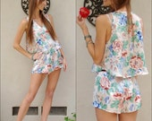 Floral tank top and shorts lingerie sexy cute vintage