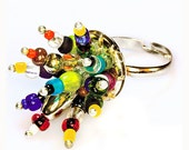 Colorful Adjustable Beaded Ring Funky Spring Fashion Rainbow colors