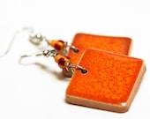 Bright Orange Ceramic Earrings Organic Eco friendly Jewelry, Tangerine