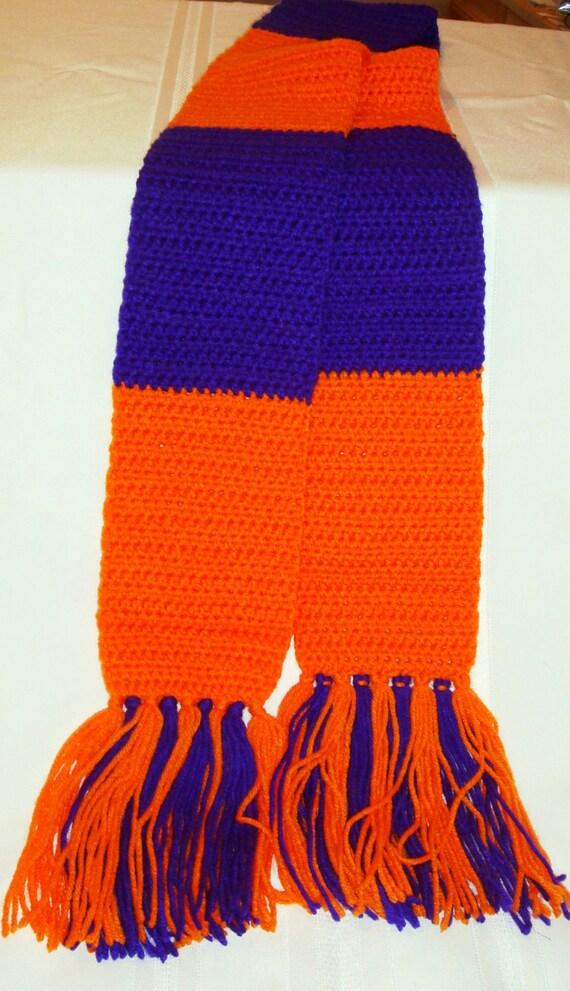 Crochet Striped Clemson Scarf - Purple and Orange