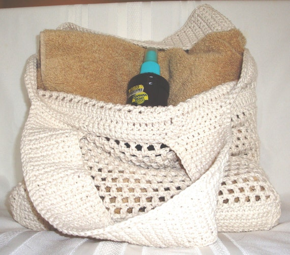 White/Cream Crochet Market or Beach Bag