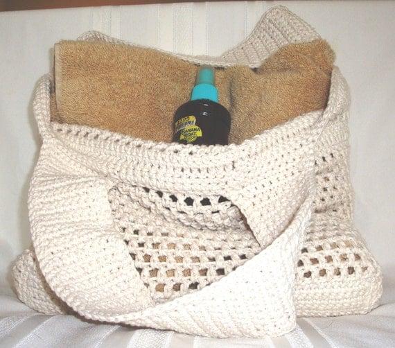 White/Cream Crochet Market or Beach Bag