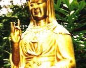SALE Golden Goddess Guan Yin Statue, Film Photograph With Digital Enhancement, 5x7 Metallic Print
