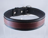 """Custom Large Classic Brown Leather Dog Collar 1 1/4""""Wide  (Triple Layered) ON SALE"""