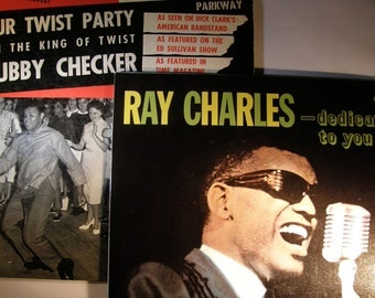 Vintage 1960s Chubby Checker and Ray Charles Vinyl Album Set