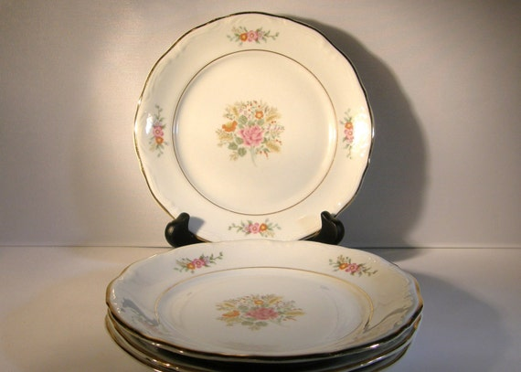Fine China - 1940s-1950s, Made in Poland,  Four Bread and Butter Plates, Vintage China