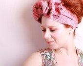 Pink headband fabric headband ON SALE Summer Headband Large headband Big hair bow hair wrap Hair scarf Big headband