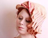 Womens pink cloche Womens flapper hat Womens cloche hat Womens fabric hat Handmade hat Womens summer hat Womens hat Pink hat Unique hat