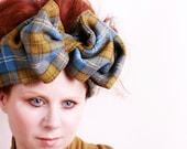Turban headband Big Bow Plaid headband Blue bow Big hair bow Womens headband Bow turban Blue turban Blue headband Retro headband