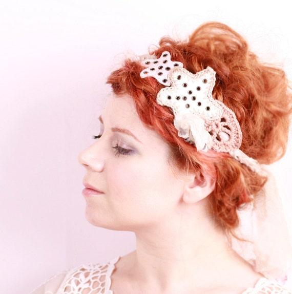 Beach wedding headband Hippie Boho Headband Fairy Crown woodland Headband Silk Crochet Headband Bohemian Wedding Starfish hair accessories