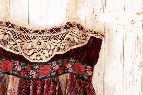 Babydoll dress Gypsy Bohemian dress Lace dress Empire dress Red dress Gypsy dress Red velvet dress Hippie boho dress Russian RESERVED