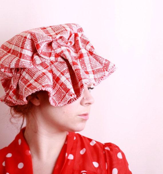 Red cloche hat Floppy hat Red hat Summer hat Fabric hat Gingham hat Plaid hat Cloche hat Unique hat Woman hat Red cloche Red fedora