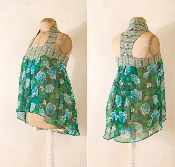 Sheer top Floral top Halter top Babydoll top camisole Green top sleeveless Top Chiffon blouse Sheer blouse Racerback Tank top Floral tank