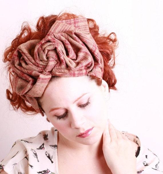 Turban hat Fall fashion Headband hat Vintage hat Retro hat Plaid hat Big headband Winter headband Brown hat  Turban headband 1940 hat