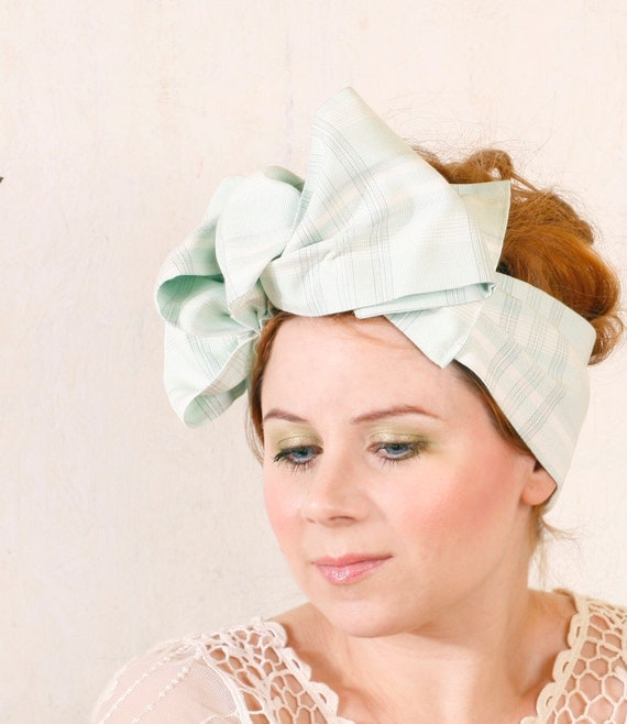 Headband hat Retro headband Mint green headband Summer headband Retro hat Gingham headband Pinup headband Vintage headband Bow fascinator
