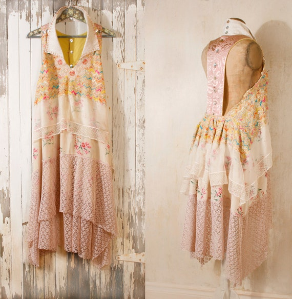 Bohemian wedding dress Lace dress 1920s wedding dress Beach wedding dress Hippie boho dress Pink wedding dress Backless wedding dress