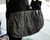 Black Grey White Plaid Medium Handbag Purse
