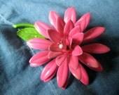 Vintage 3-D Bright Pink Enamel Flower Brooch