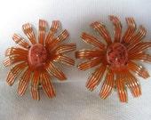 Vintage Large Orange Daisy Enamel Flower Hinge Earrings Stone Centers