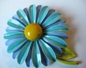 Vintage Enamel Blue and Sea Green Daisy Flower Brooch
