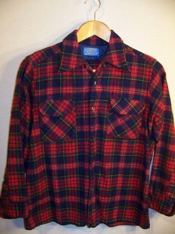 Vintage Pendleton 100% Virgin Wool Men's Shirt sz L Plaid Red Green Blue Loop