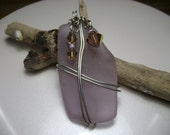 Lovely lavendar seaglass pendant with vintage beads
