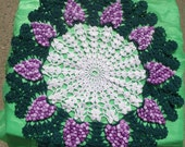 Vintage Crochet Grapes & Leaves Doilie from 1950's