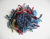 Merino wool crochet pin - blue - blue brooch - flower brooch - flower pin