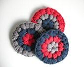 Cotton crochet coasters - blue gray raspberry  coasters - absorbent coasters