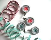 Crochet hair clips - crochet flower - summer fashion - color lovers - birthday gift