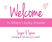 Sugar & Spice Baby Shower Welcome Sign, Printable JPG File