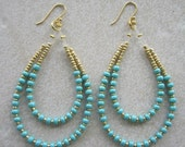 Turquoise & Gold Long 2 row Beaded Hoop Jewelry Plated Earrings