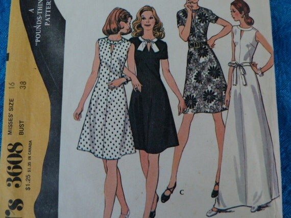 vintage 1970s McCalls sewing pattern 3608 dress