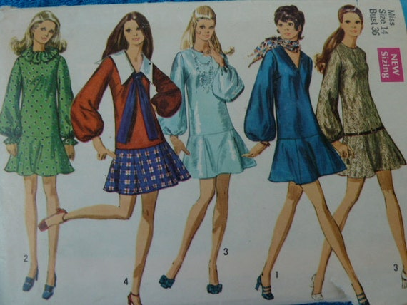 vintage late 1960s simplicity sewing pattern dress