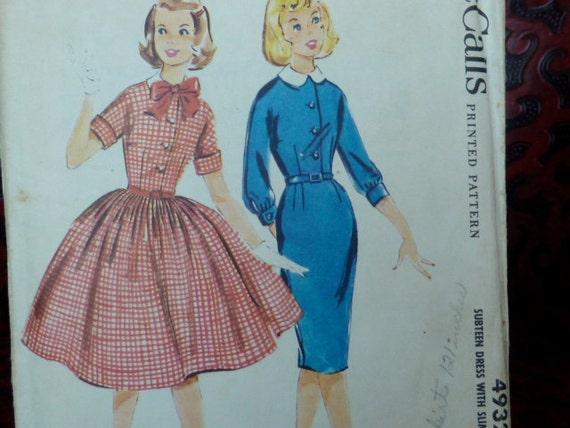 vintage 1950s sewing pattern McCalls 4932 dress full skirt size 8