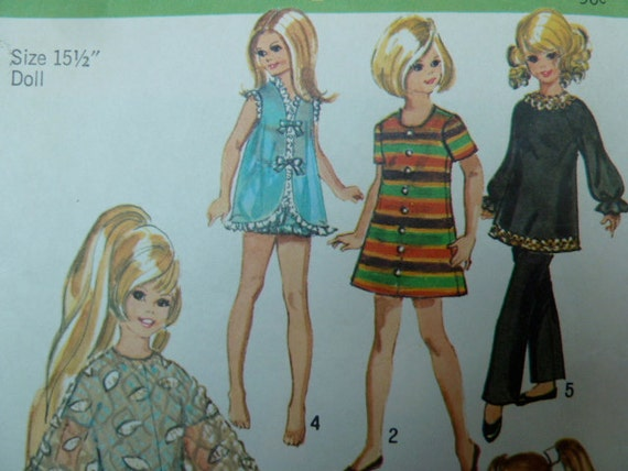 vintage 1970s simplicity 9138 sewing pattern teen doll clothes