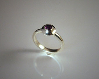 Sterling silver medieval style ring with amethyst cabochon