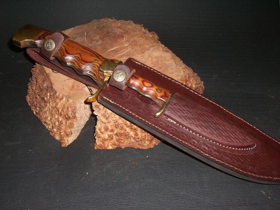 "Double Trouble Twin Bowie Knives 15"" & 7.5"", Hand Carved Pakkawood Handles, Custom File Work, Double Leather Sheath"