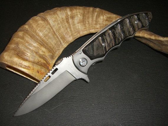 Customized Browning Pocket Knife Impala Horn Handle