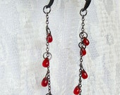 Droplets of Claret - Jackdaw Claw Feet Earrings. Hand prepared and handcrafted.  Be Deathly: Be Deadly