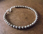 Round Silver Beaded Bracelet- 4mm