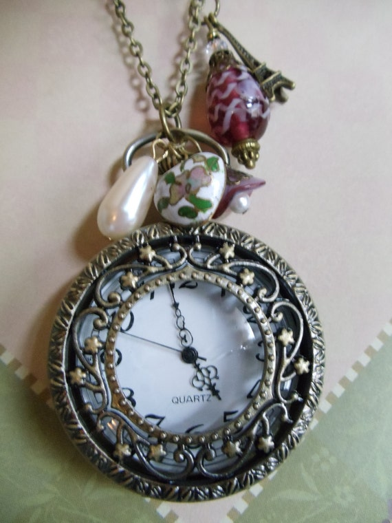 Pocket watch pendant, watch pendant, filigree watch pendant with rose lamp work beads and stylish charms