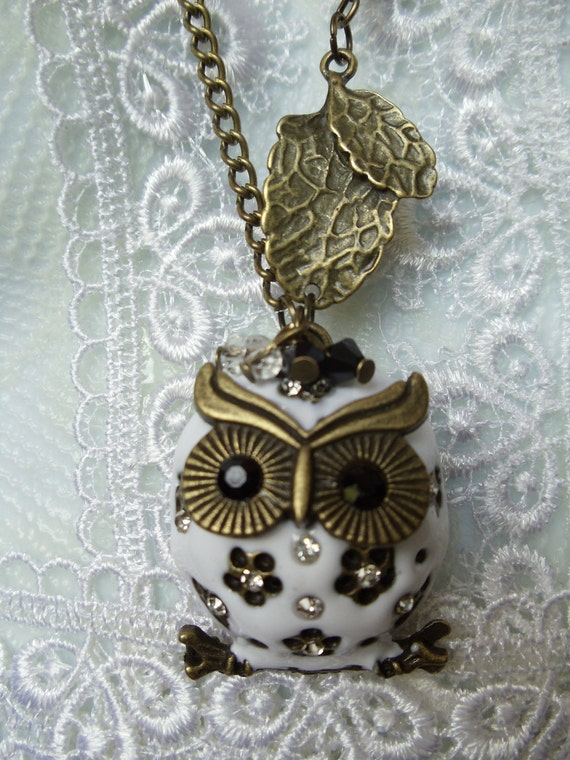 "White owl pendant , white owl with rhinestones, owl necklace is on 26"" chain with white beads and  Swarovski crystal"