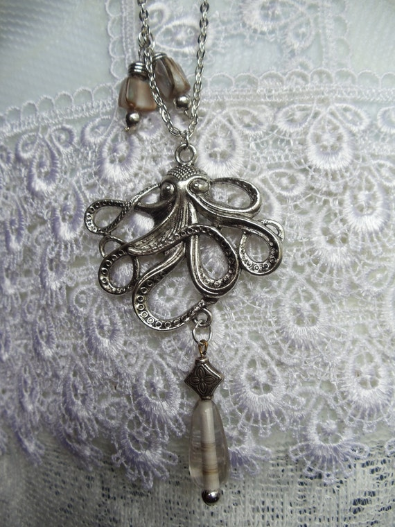 Silver octopus necklace, octopus charm necklace